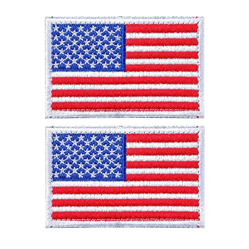 AKOAK 2 Pieces American US Flag Embroidered Patch with Velcro Backing Patriotic USA Military Tactics Patch Iron-On or Sew to Any Garment - White Side,Blue,Red and White (Velcro Two Side)