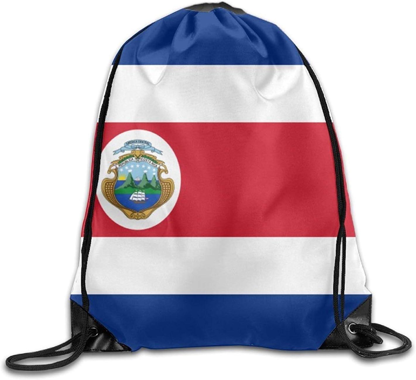 Bolsa de deporte de la bandera de Costa Rica personalizada con cordón, bolsa de almacenamiento portátil para camping, senderismo, natación, compras, senderismo, viajes, playa
