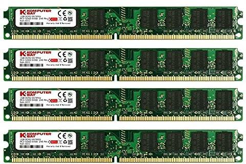 KOMPUTERBAY 4GB (4X 1GB) DDR2 667MHz PC2-5300 PC2-5400 (240 PIN) DIMM Desktop Memory with Samsung (4 Gb Ddr2 Sdram 667)