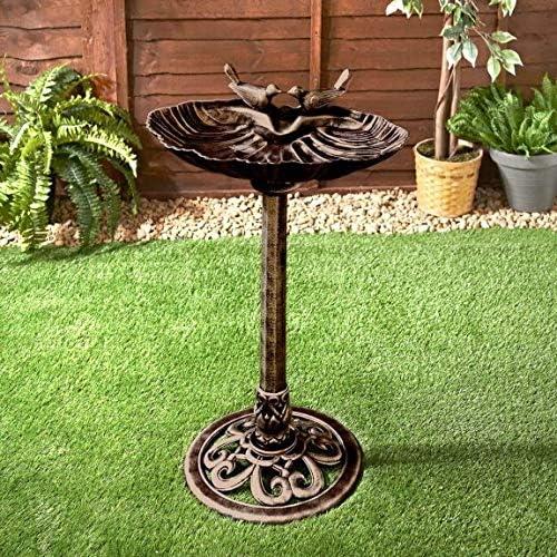 H 74cm ONLINE DEALS OUTLET Stunning Decorative Feature Bronze Effect Bird Bath Weather Resistant Outdoor Garden Ornament