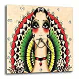 3dRose Mexican Art DECO Lady with Skulls - Wall Clock, 10 by 10-Inch (dpp_62386_1)