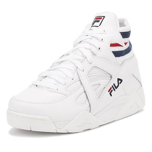 23aa563a47f77 Fila Hombres Blanco Azul Marino Rojo Cage Zapatillas-UK 11  Amazon.es   Zapatos y complementos