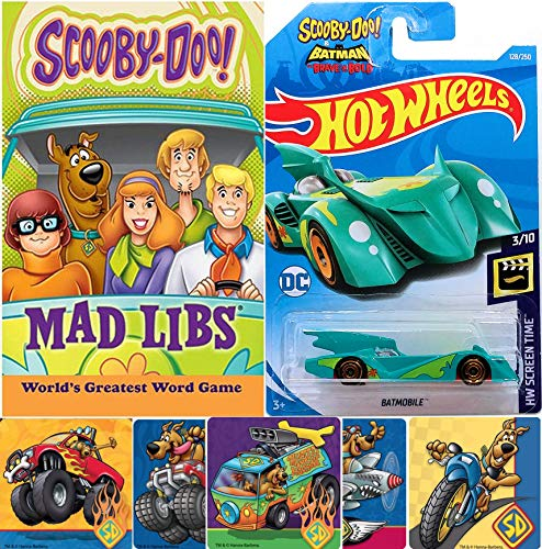 Hot Wheels Brave Batmobile Bold Scooby-Doo! Pack Mystery Batman Car Die-Cast Friends Set + Mad Libs Game Solving Crew Fred, Velma, Daphne Shaggy + Mad Libs Funny Story Game Book & Stickers 3 Items