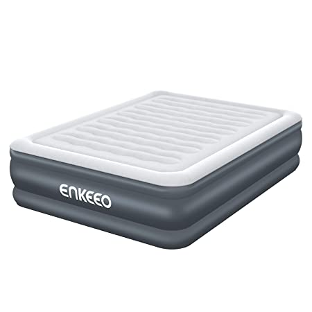 ENKEEO Air Mattress Queen-Size Inflatable Blowup Bed with Built-in Electric Pump for Easy and Quick Use Suitable for Indoor Recreation and Outdoor Camping