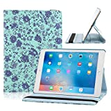 TOPCHANCES Slim Mordern Smart Cover Case for the iPad Air, iPad 5 with Auto Sleep/Wake Function Built in Stand-Green Embossed Flowerss Case (Humulan Blue)
