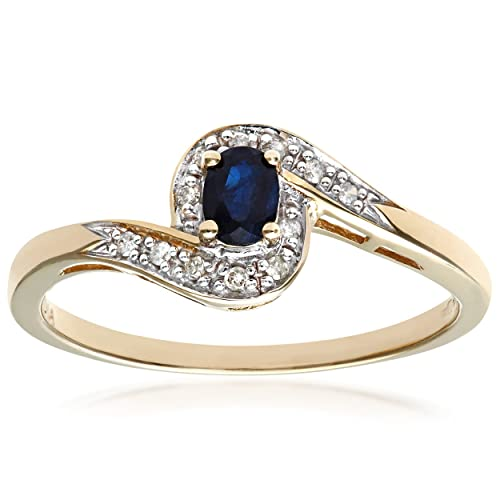 Naava Anillo para Mujer de Oro con Diamante y Zafiro: Amazon ...