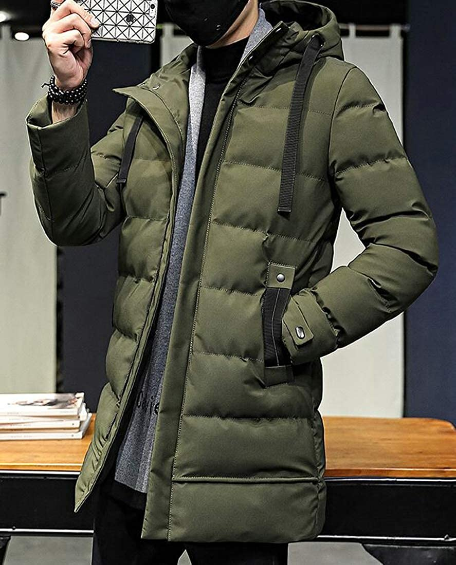 YULEgowinner Mens Hooded Slim Thicken Quilted Down Coat Parkas Jacket