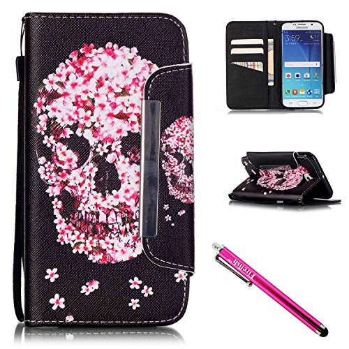 Galaxy S6 Case, Galaxy S6 Wallet Case, Firefish Stand Flip Folio Wallet Cover Shock Resistance Protective Shell with Cards Slots Magnetic Closure for Samsung Galaxy (Glow In The Dark Eye Contacts)