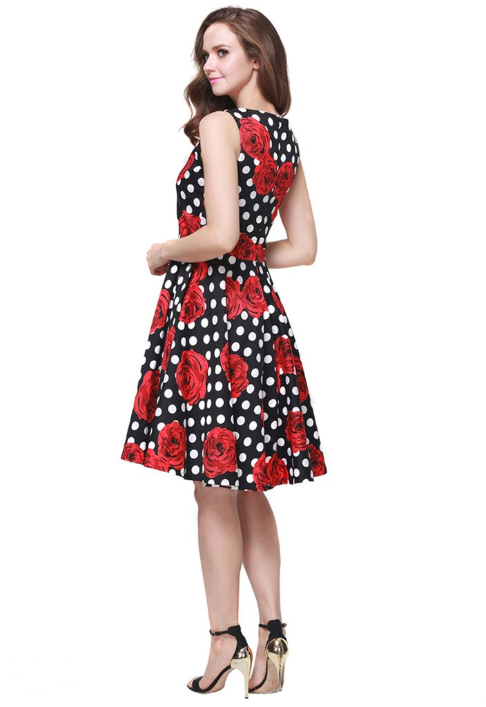 Buenos Ninos Women's Classic 1950s Printed Vintage Retro Rockabilly Party Ball Swing Dress Black with Red Rose L by Buenos Ninos (Image #5)