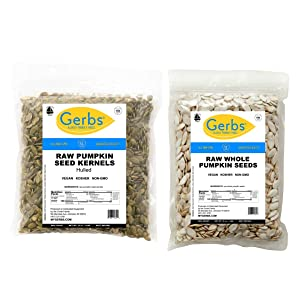 GERBS Raw Pumpkin Seed Variety Pack   32oz Bag Raw Pumpkin Seed Kernels, 32oz Bag Raw Whole Pumpkin Seeds, Top 14 Food Allergen Free, Non GMO, Vegan, Keto, Paleo Friendly