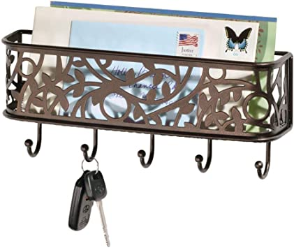 Bronze 10.5 x 2.5 x 4.5 Renewed Mudroom iDesign Twillo Mail and Key Holder Decorative Wall Mounted Key Rack Organizer Pocket and Letter Sorter Holder for Entryway Kitchen Home Office Organization