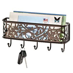 mDesign Wall Mount Metal Entryway Storage Organizer Mail Sorter Basket with 5 Hooks - Letter, Magazine, Coat, Leash and Key Holder for Entryway, Mudroom, Hallway, Kitchen, Office - Bronze