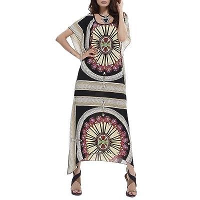 Femme Robe de Plage Longue Grande Taille Kimono Ete Imprime Chemise Mousseline de Soie Maillot De Bain Bikini Couverture Bohême Cover up Sarong – Landove
