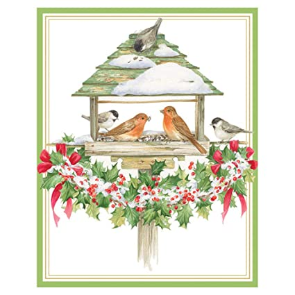 caspari holiday bird feeder mini boxed christmas cards 16 cards 16 envelopes - Caspari Christmas Cards