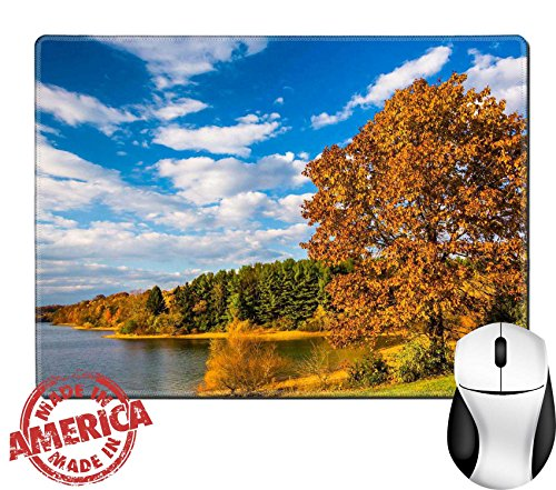 Luxlady Natural Rubber Mouse Pad Mat With Stitched Edges 9 8  X 7 9  Image Id  25228020 Autumn Tree And View Of Lake Marburg At Codorus State Park Pennsylvania