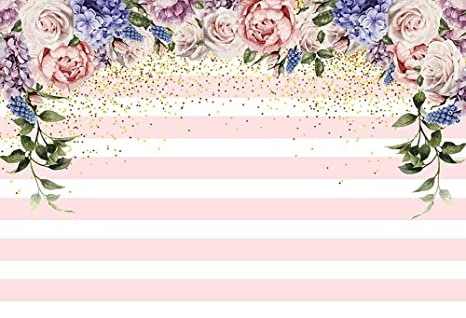 MEHOFOTO Photography Backdrops Pink And White Stripe Gold Dots Flowers Birthday Party Decoration Photo Studio Booth