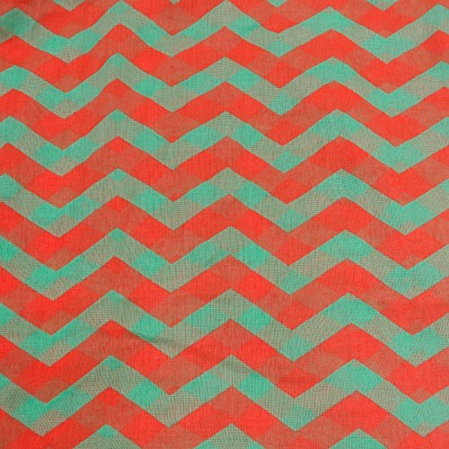 Silverhooks Womens Soft Infinity Circle Sheer Chevron Scarf (Orange/Teal Green)