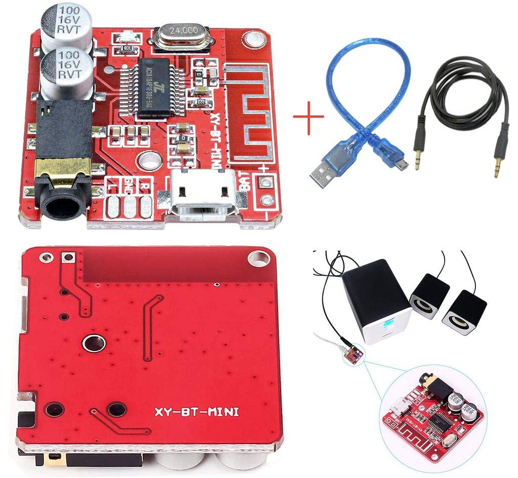 DAOKI Audio Amplifier Module MP3 Decoder Board Lossless Car Speaker Circuit Stereo Receiver Module 5V + USB Cable + 3.5mm Jack Cable