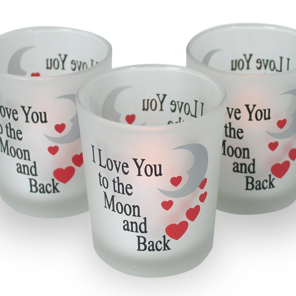 I Love You to the Moon & Back Frosted Glass Votive Holders - Red Hearts & Silver Moon - Set of 3 Assorted - Three Flameless Flickering LED Candles Included by Banberry Designs (Image #2)