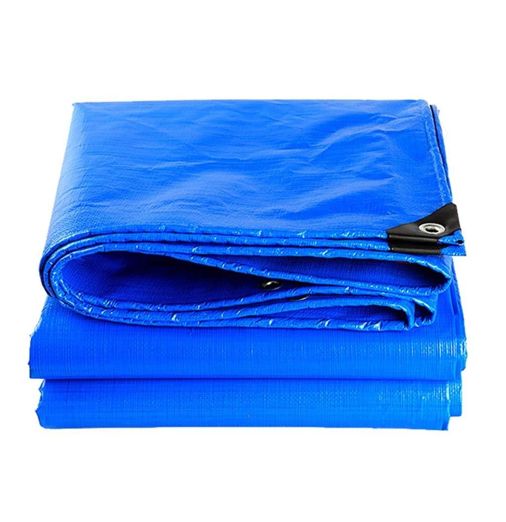 KYCD Lenzuolo per la Copertura della Pioggia del Giardino in Tela Cerata Impermeabile Blu per Campeggio, Pesca, Giardinaggio e Animali Domestici, Spessore 0,28 mm, 160 g m², Opzioni Multi-Dimensione
