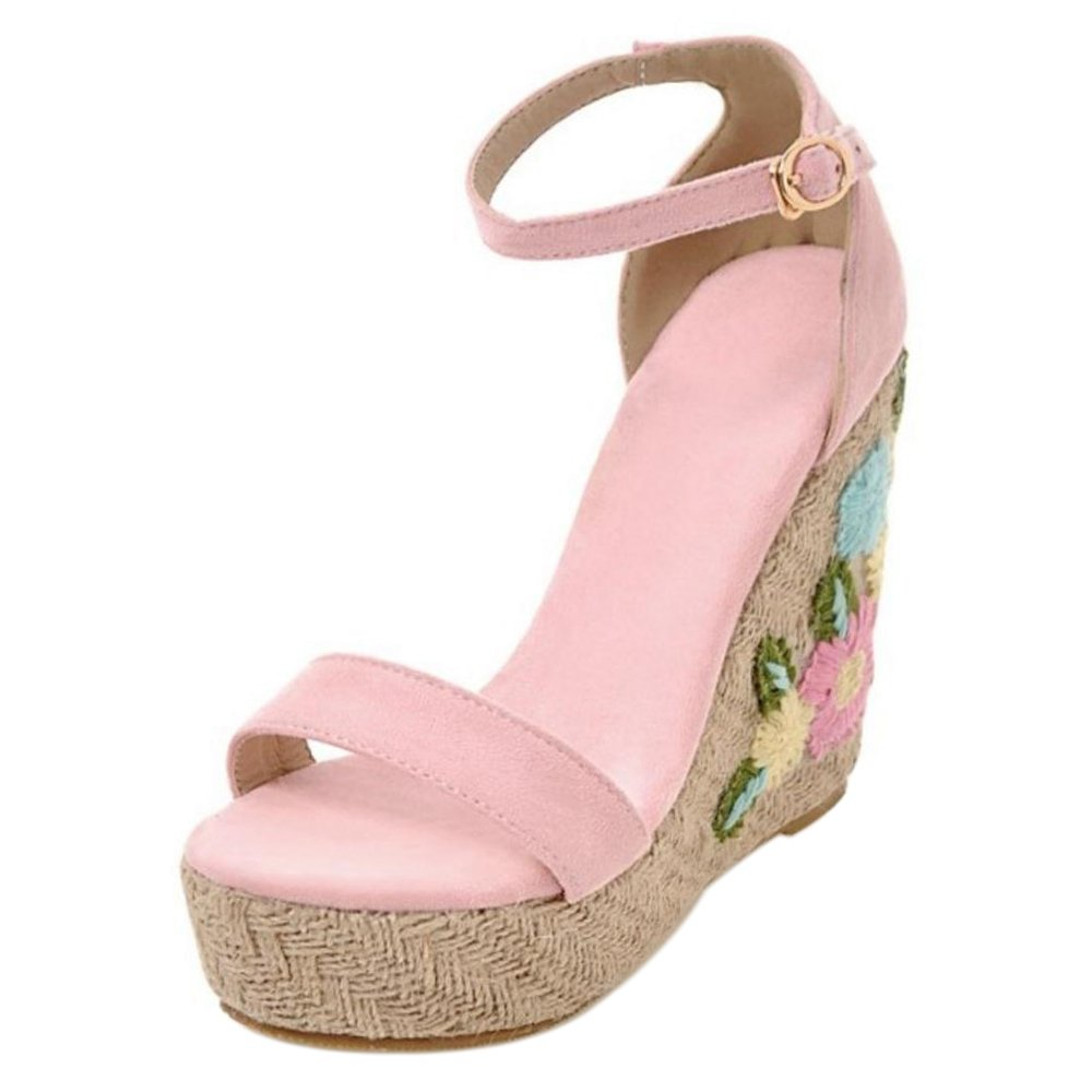 TAOFFEN Women Ankle Strap Wedge Heels Sandals B07BTWMRWV 6 US = 23.5 CM|Pink-2