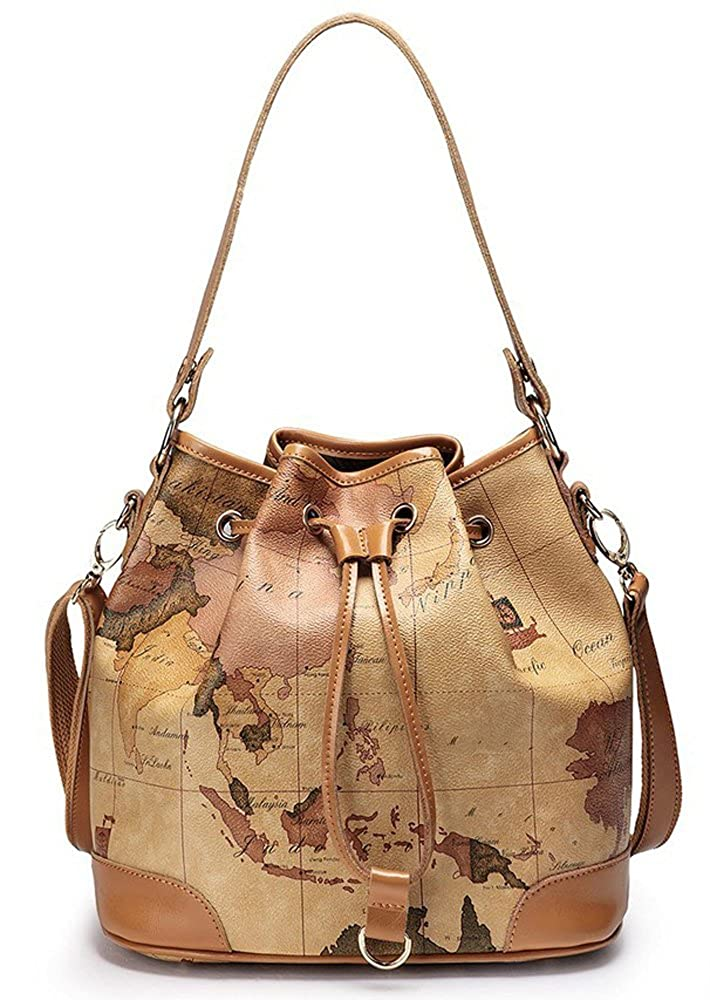 Amazon.com  Nucelle Drape Map Print Shoulder Handbag Bucket Bag Satchel  Beige  Shoes dd47658fbc508