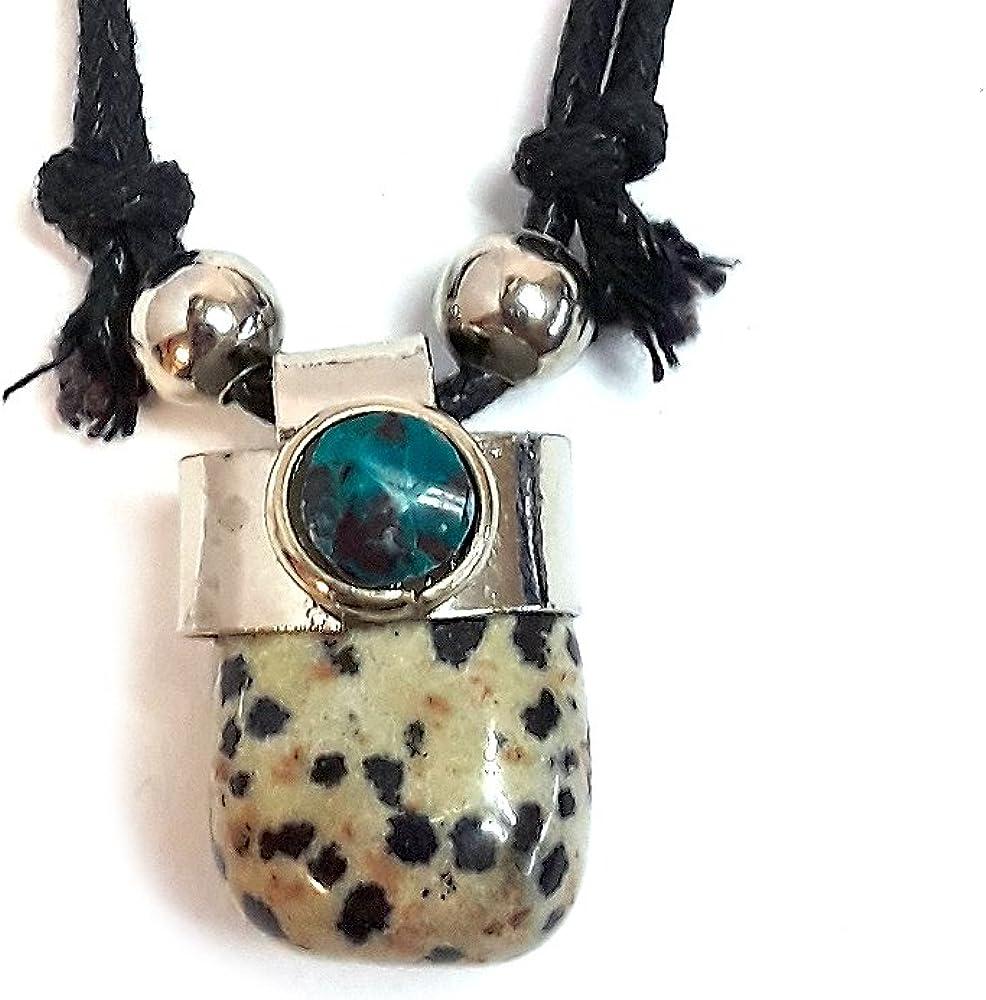 small patterned pendant Dalmatian stone pendant 925 silver oval pendant