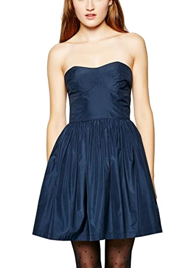 Jack Wills Delaney Strapless Boned Bodice Prom Dress, Navy, UK Size 10