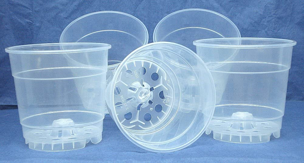 4.5 Inch Clear Round Plastic Orchid Pot – 10 Pack