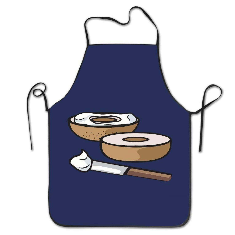amiuhoun Cartoonベーグルとクリームチーズホワイト面白いレディースメンズ面白いクリエイティブ印刷料理エプロン   B07FNN16FD