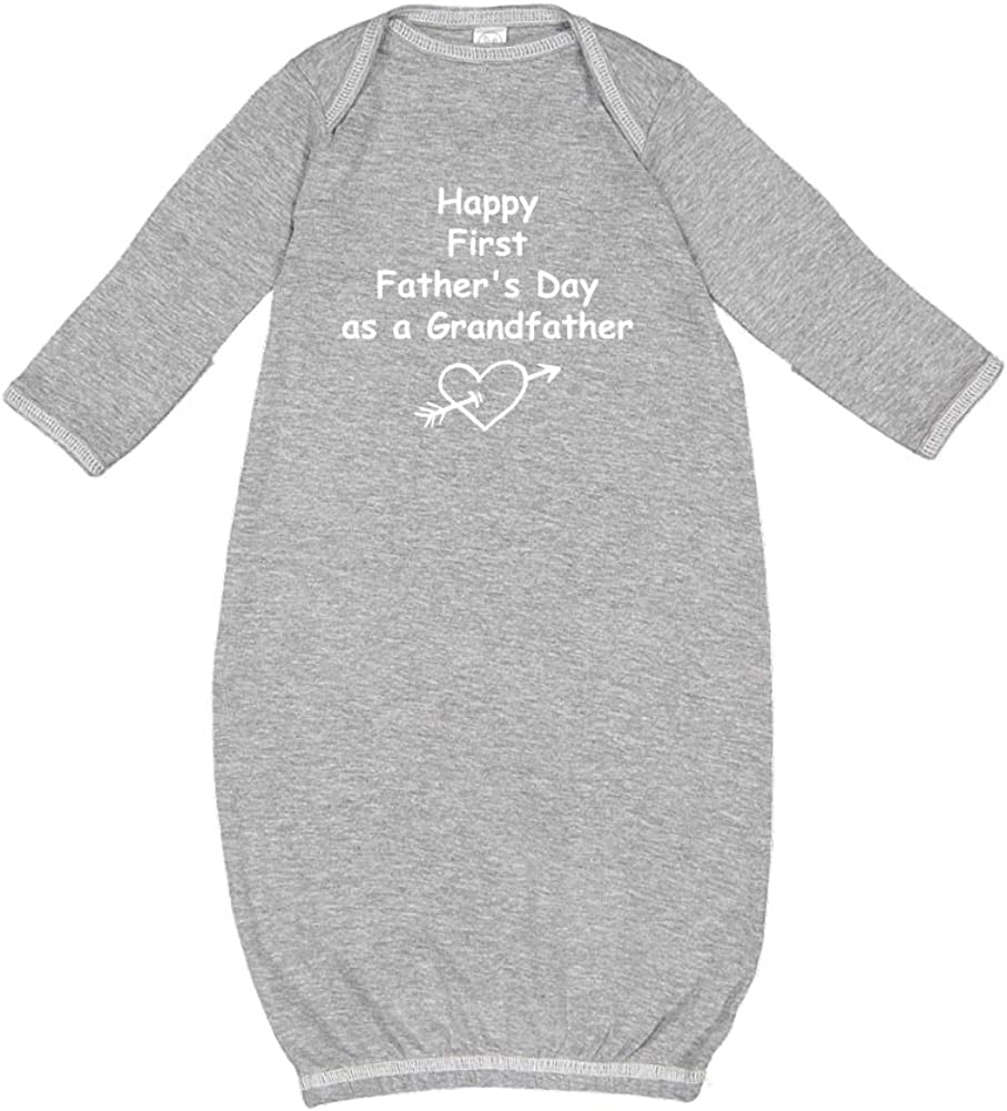 Heart and Arrow Baby Cotton Sleeper Gown Happy First Fathers Day as a Grandfather