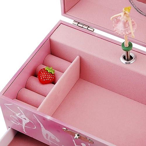 Glocke Schmuckk/ästchen Box Speichern mit Schublade und Ballett Halsketten mit Wunderbar Einhorn Thema Kinder Musik Der Schwanensee Tune Rote Rose