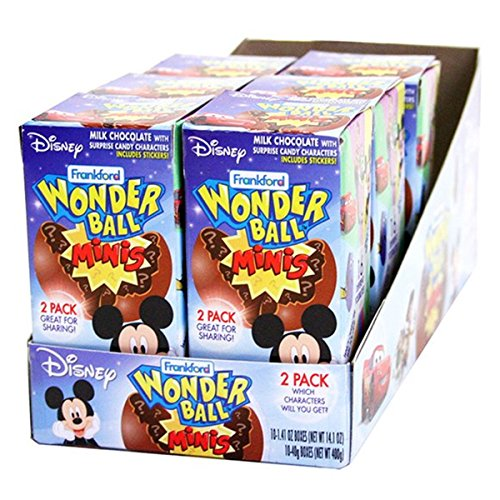 Disney Chocolate Wonderball Egg with Surprise Character Hard Candy, 1.41 oz (10 Pack) -