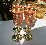 Indian Gifts Store Handmade Pure Copper Wine Goblet, Size-10 Ounce, Copper Wine Glass/Cup, Solid Copper Wine Glass Set Of 4 Brown