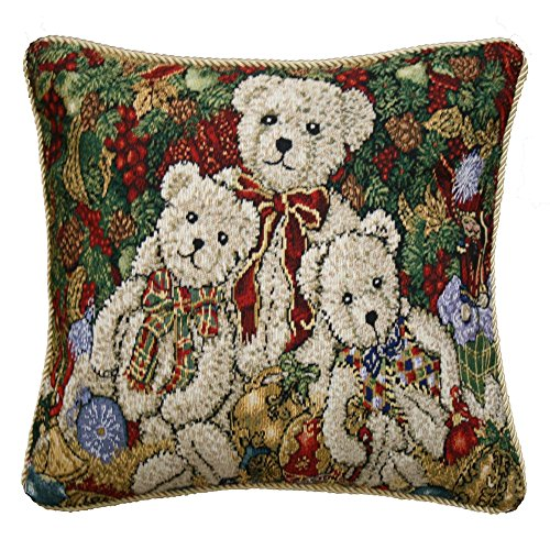 "Violet Linen Decorative Christmas Tapestry Cushion Cover, 18"" x 18"", Teddy Bears Design"