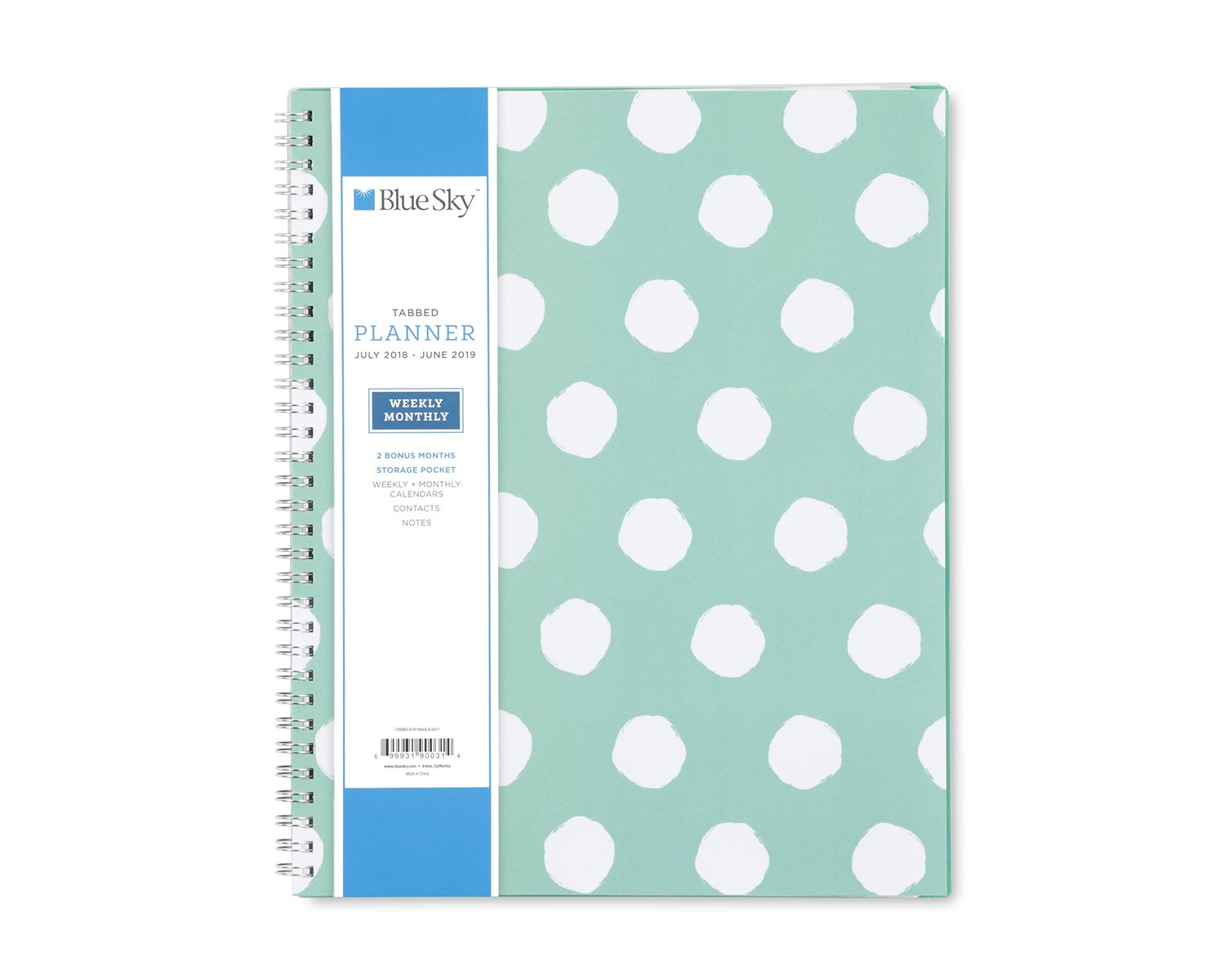 Blue Sky 2018-2019 Academic Year Weekly & Monthly Planner, Flexible Cover, Twin-Wire Binding, 8.5'' x 11'', Penny