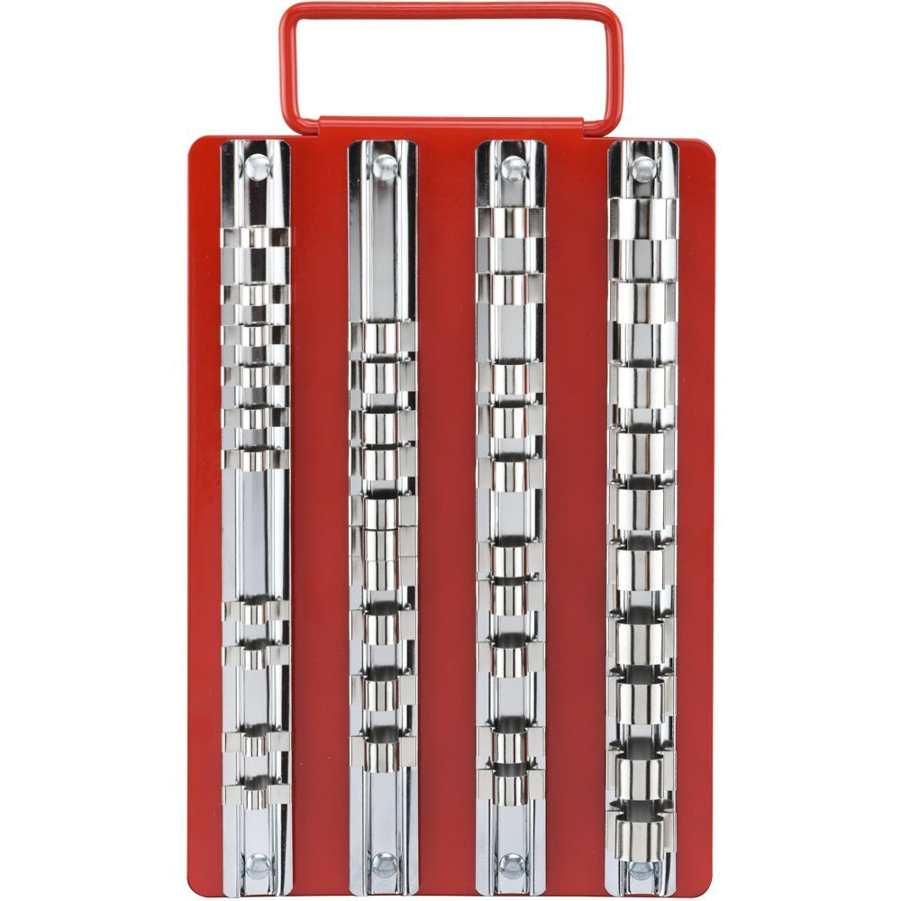 """1//4/"""" 80-Piece Set 3//8/"""" and 1//2/"""" Multi-Drive Tooluxe 03966L Universal Socket Holders in Steel Organizer Tray"""
