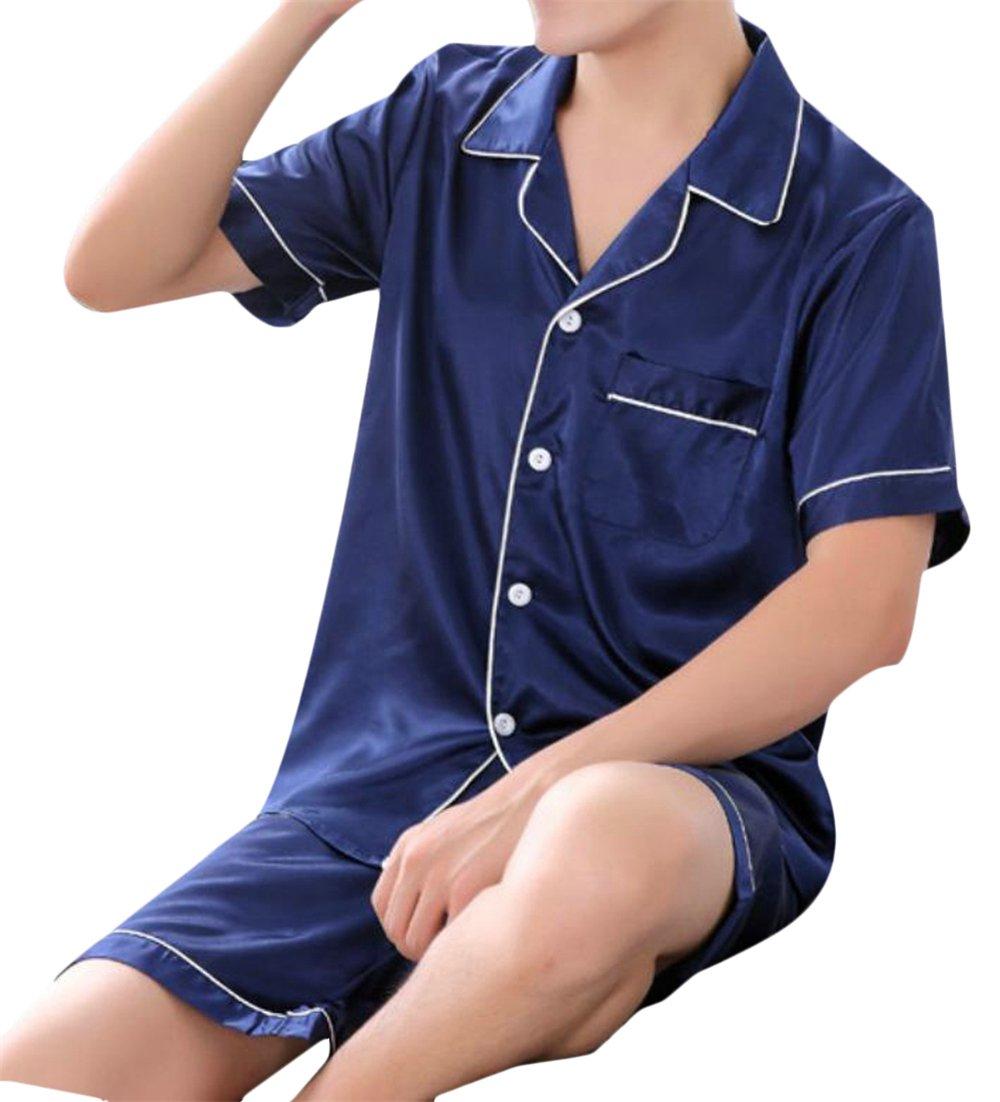 Cromoncent Men's Short Sleeve Silk Button Down Shirt+Shorts Pajama Set Nightie 1 XXL