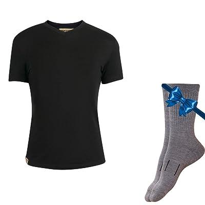 100% NZ Organic Merino Wool Lightweight Women's Base Layer Thermal Short Sleeve T-Shirt + Merino Wool Hiking Socks Bundle: Clothing
