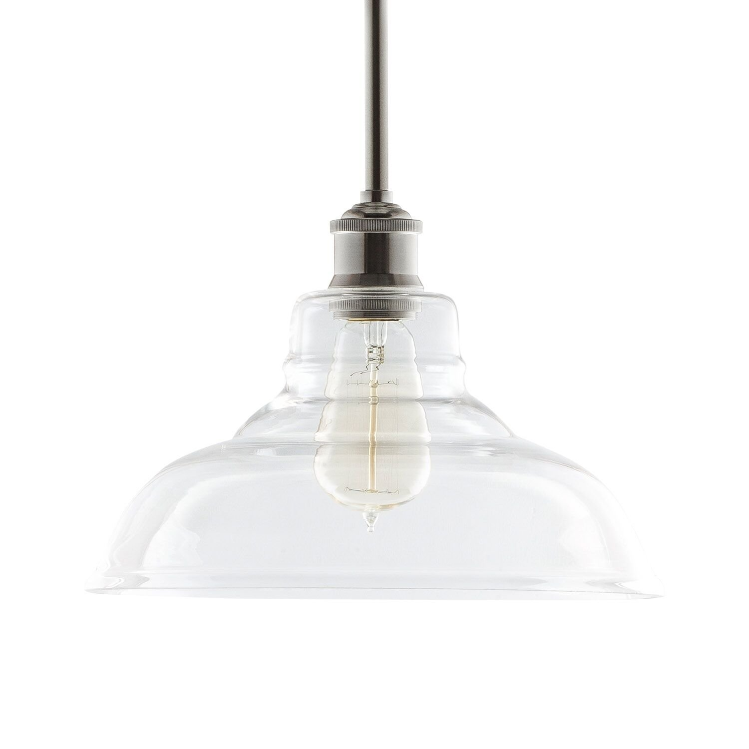 Amazon lamp shades tools home improvement - Lucera Stem Mount Factory Pendant Light Brushed Nickel Fixture With 11 Inch Clear Glass Shade Adjustable Hanging Height Modern Vintage Farmhouse Kitchen