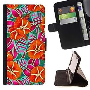 Momo Phone Case / Flip Funda de Cuero Case Cover - Rayas Naranja Arte Dibujo - Samsung Galaxy S6 Edge Plus / S6 Edge+ G928