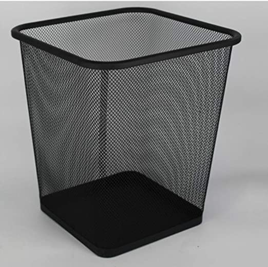 Mesh Waste Paper Bin Metal Wire Rubbish Basket for Office Bedroom Black