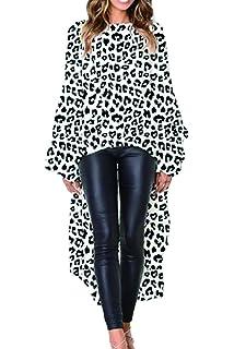 Zonsaoja Camiseta De Mujer Tops Estampado De Leopardo Irregular Dobladillo Blusa  Casual Suelto a7b37c18c52