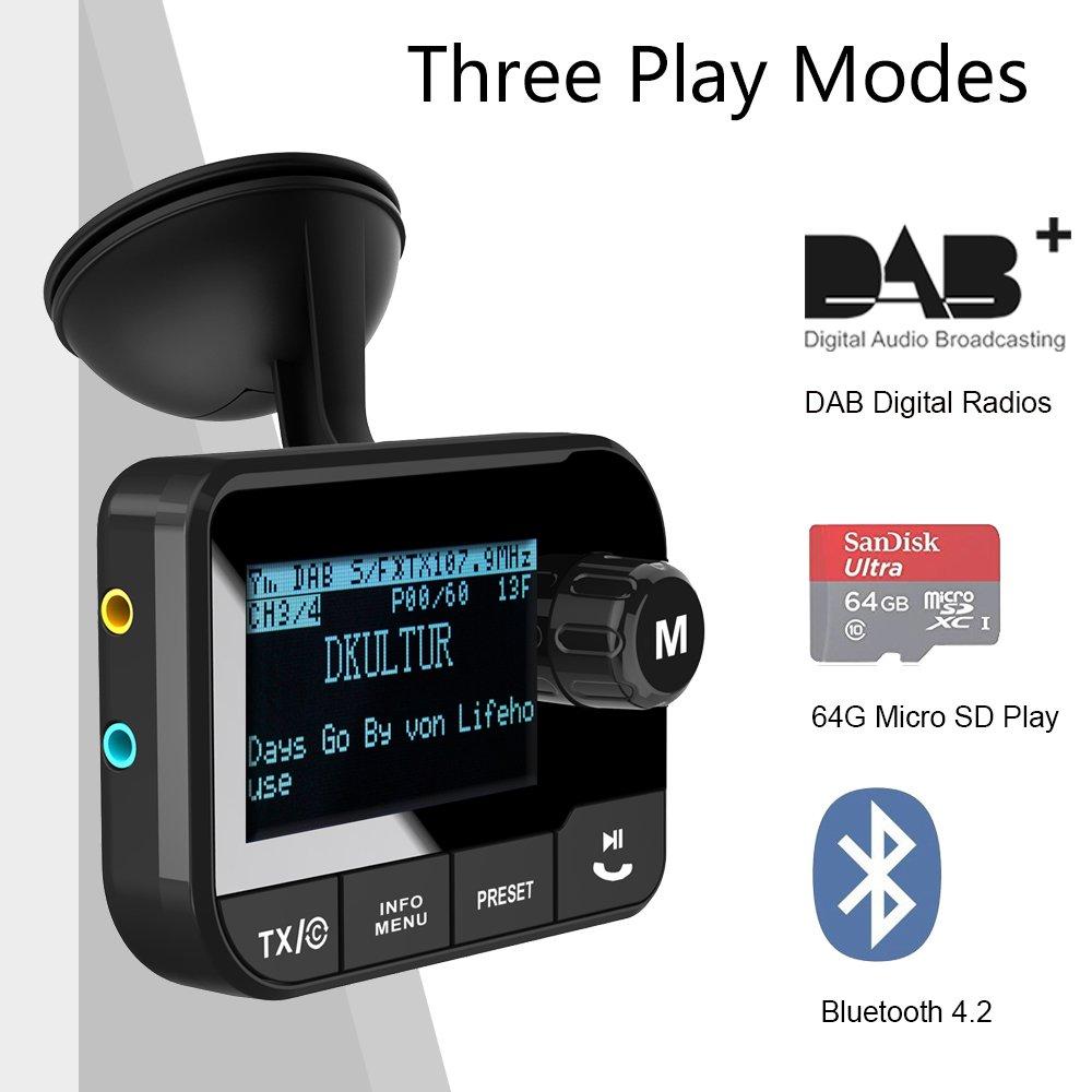 DabRadio Adaptateur Transmetteur Fm Voiture Digitale Bluetooth v80wmNOn