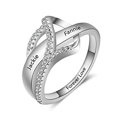 2179fce09d487a Amazon.com: Personalized Promise Rings for Her Women Couples Name Rings  Friendship Rings BFF Rings for Women: Jewelry