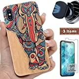 "iProductsUS Wood Phone Case Compatible with iPhone Xs MAX,Magnetic Mount and Screen Protector-3D UV Print Colorful Elephant Cases,Compatible Wireless Charger,Built-in Metal Plate TPU Covers (6.5"")"
