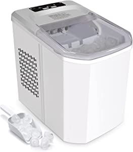 FINVIE Electric Compact Ice Maker Machine for Countertop, 9 Ice Cubes Ready in 6-10 Mins, 26lbs Bullet Ice Cubes in 24H, ice Machine with Scoop and Basket for Home/Office/Bar/Kitchen/RV (White)