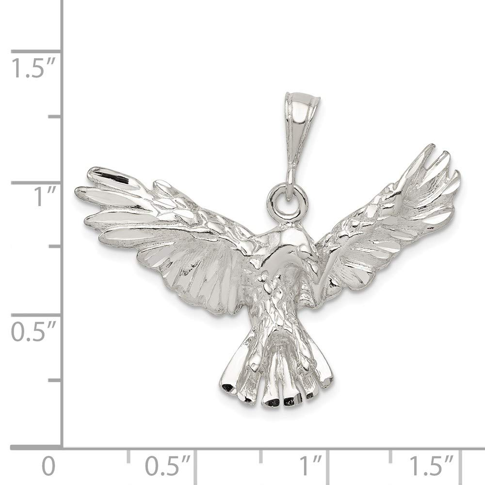 Solid 925 Sterling Silver Eagle Pendant 37mm x 27mm