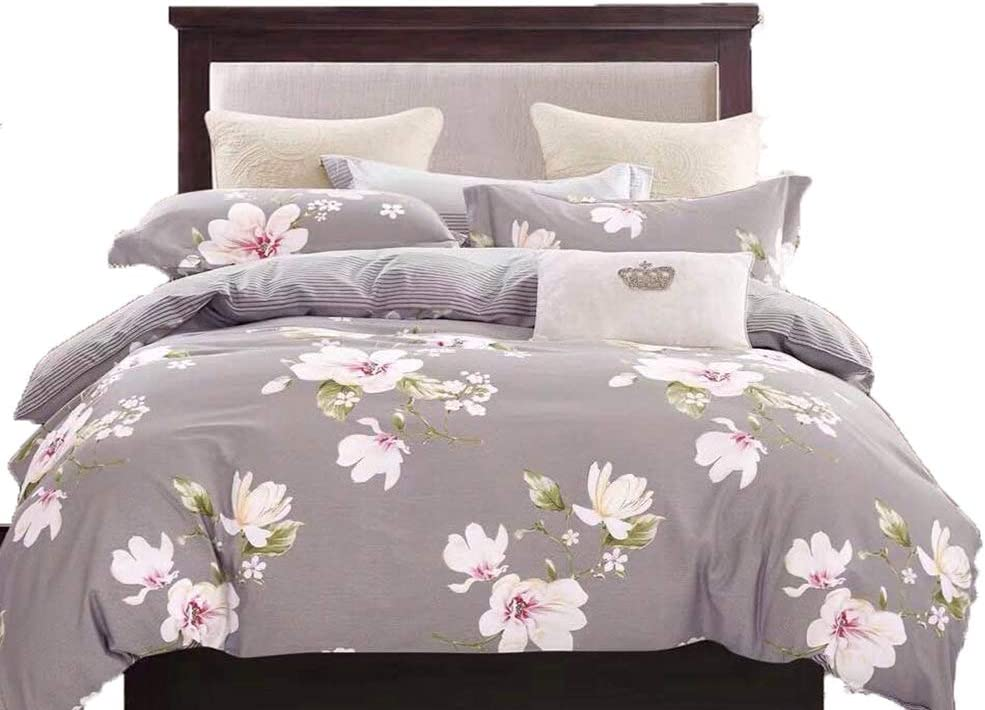 Swanson Beddings Magnolia Reversible Floral Print 3-Piece 100% Cotton Bedding Set: Duvet Cover and Two Pillow Shams (Queen)