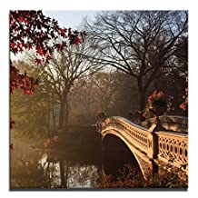 JP London Ready to Hang Made in North America Art Gallery Wrap Heavyweight Canvas Wall Central Park Forest Pond Bridge in Autumn 14in SQSCNV2206
